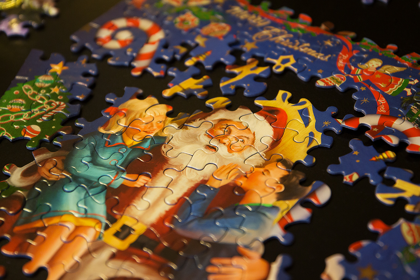 Christmas Traditions puzzle pieces Santa